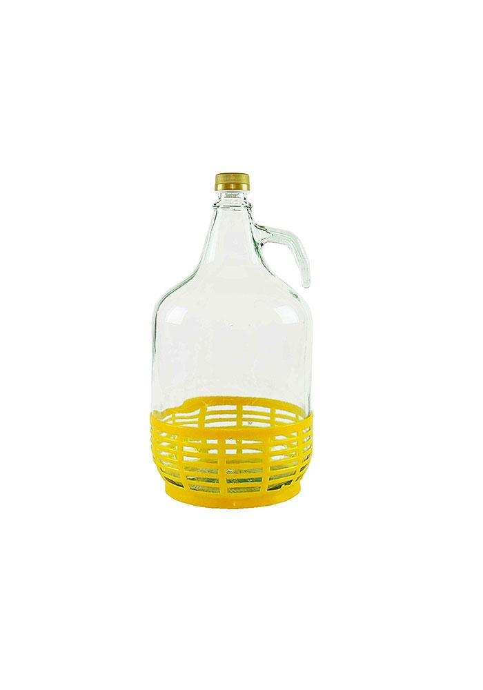 Dama in vetro trasparente con cestino in nylon giallo, 5 litri